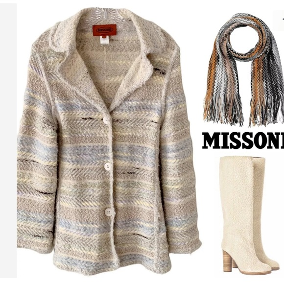 MISSONI ITALY WOOL MOHAIR KNIT SWEATER JACKET